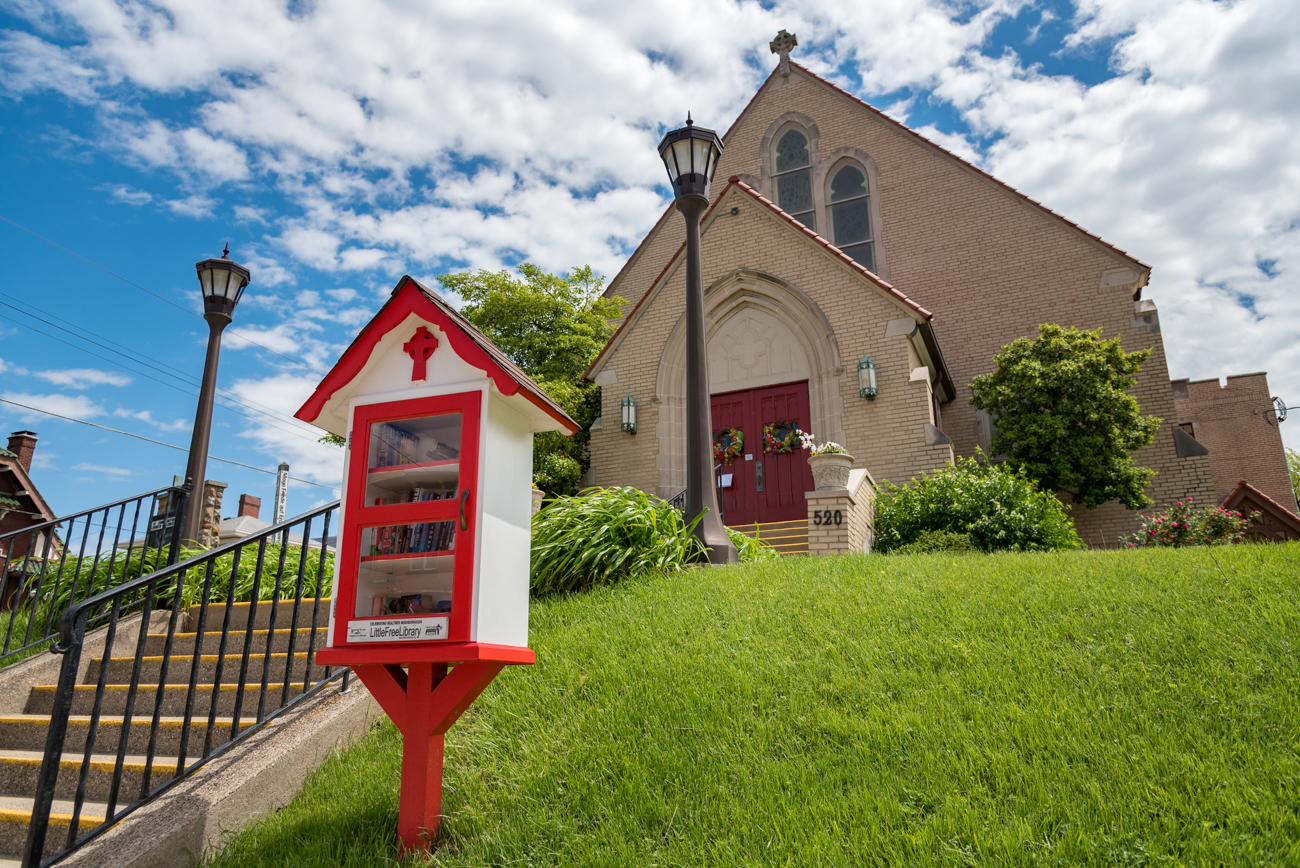 LOCATION: By the steps to St. John United Church of Christ in Bellevue / ADDRESS: 520 Fairfield Avenue (41073) / FUN FACT: This striking red and white library is modeled after the church behind it. / IMAGE: Phil Armstrong, Cincinnati Refined // PUBLISHED: 5.3.17