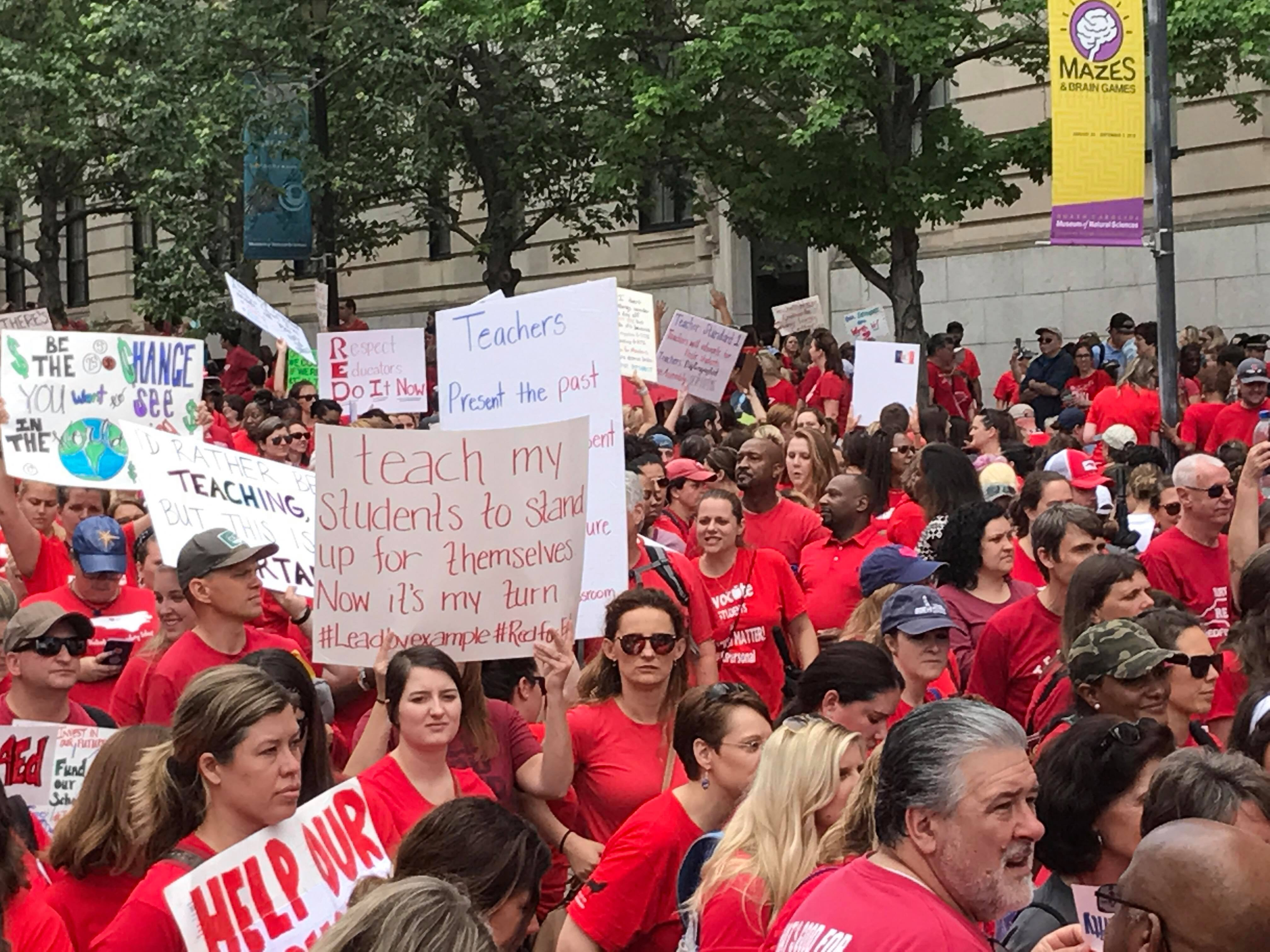 More than 15,000 teachers from across North Carolina are marching in Wednesday's rally in Raleigh. (Photo: WCTI)<p></p>