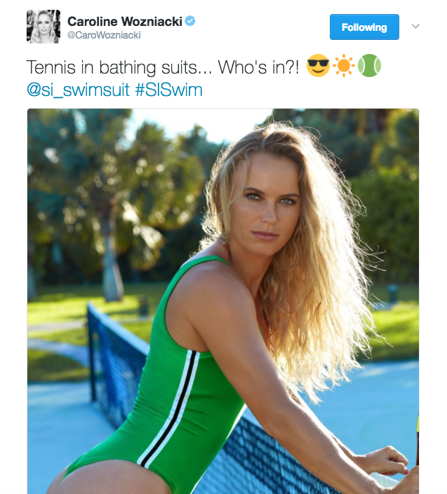 "Caroline Wozniacki posts a photo on Twitter from her Sports Illustrated Swimsuit Issue and captions, ""Tennis in bathing suits... Who's in?!"""