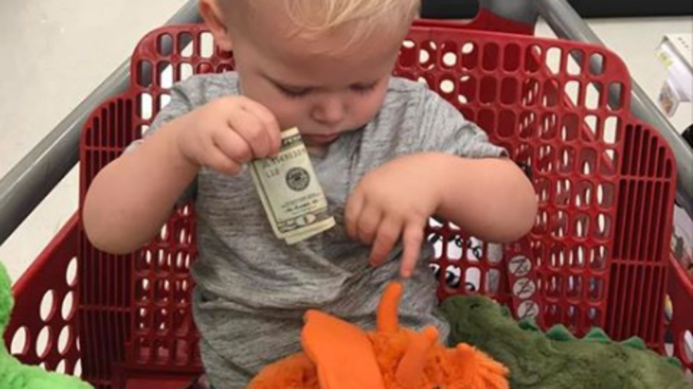 Man gives $20 to toddler he just met at Target for toys following death of young grandson. (Photo courtesy of Colby and Alyssa Hacker)