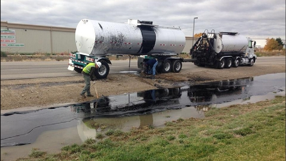 300 gallons of liquid asphalt spill onto side of gowen road