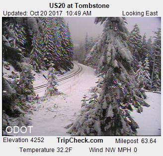 Tombstone on Highway 20 on Friday morning. (ODOT)<p></p>