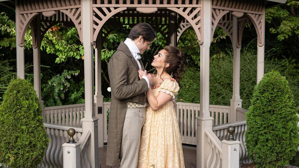 Steven Good and Olivia Hernandez stars as Mr. Darcy and Elizabeth Bennet in Austen's Pride at The 5th Avenue Theatre - Photo Credit Mark Kitaoka.jpg