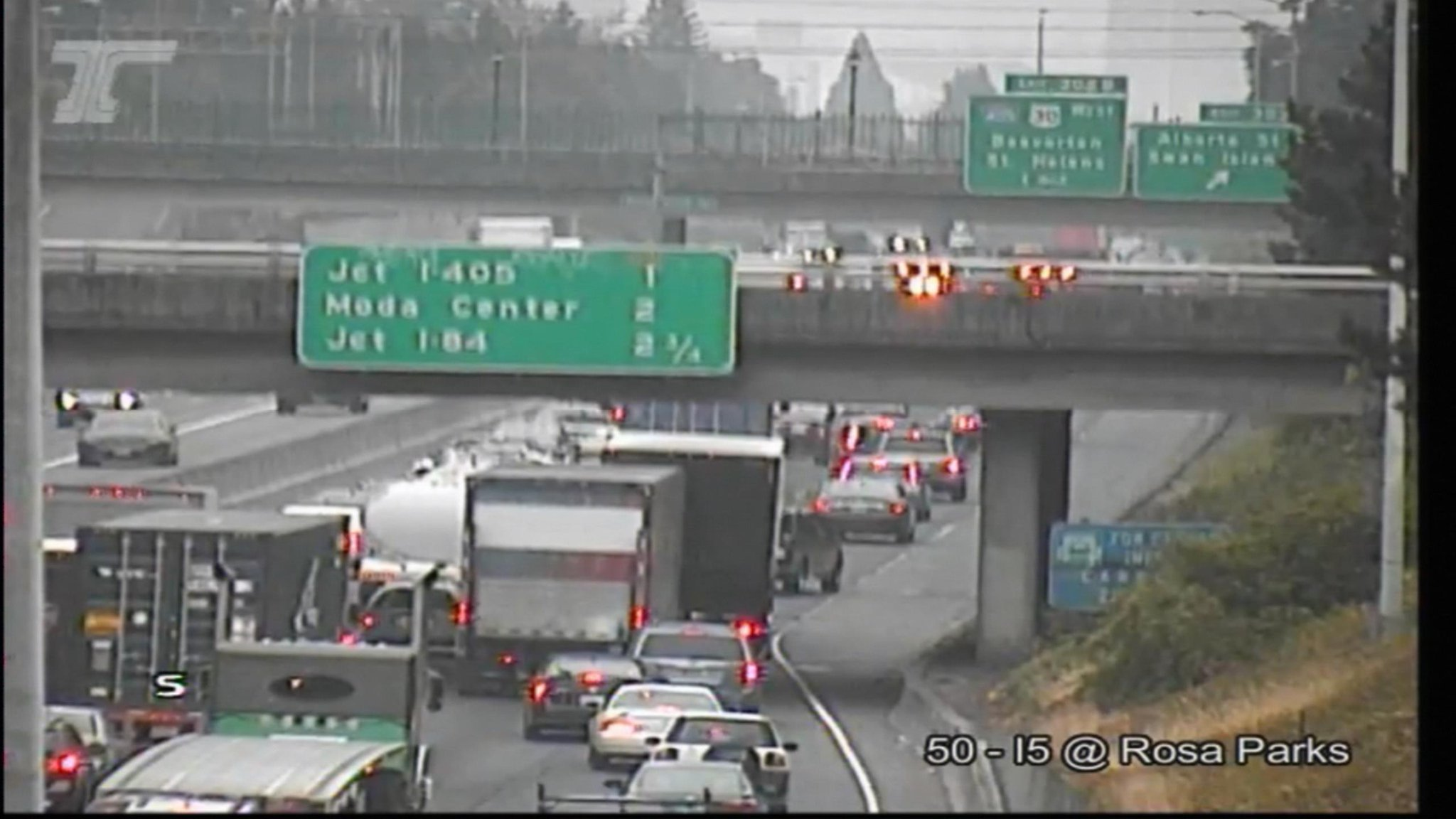 Two lanes of I-5 southbound closed Tuesday morning because of a leaking food grease truck, police said. ODOT photo