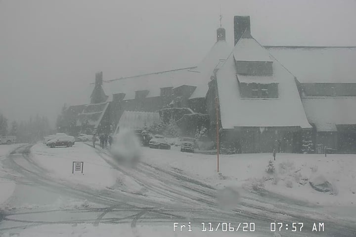 Snow accumulates on Mt. Hood ahead of chilly weekend. (ODOT photos)