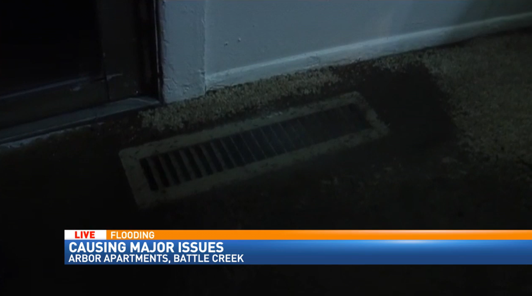 Arbor Apartments in Battle Creek had tadpoles coming up the vents during flooding.