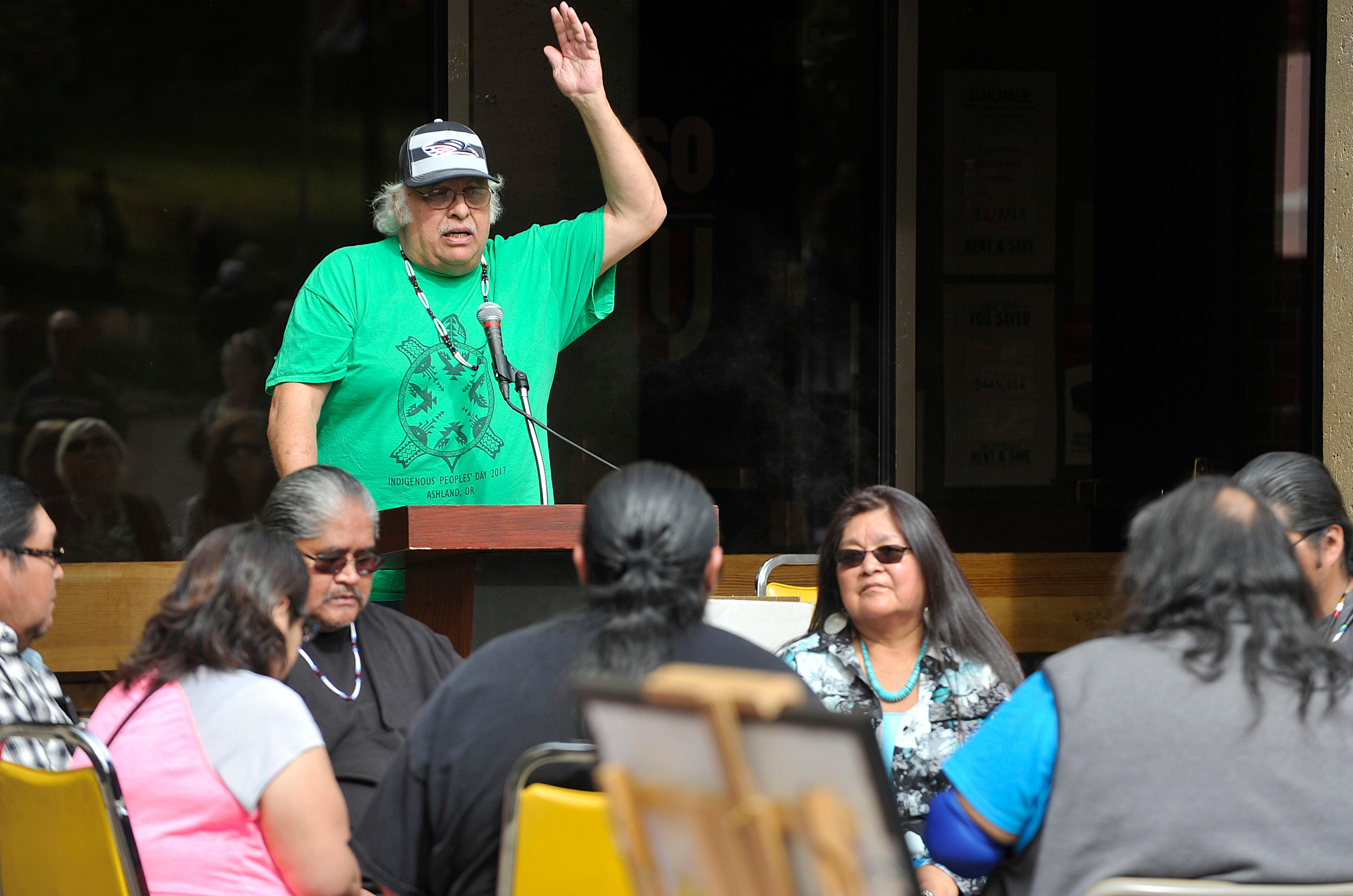 David West, Director Emeritus, speaks during the salmon bake event for Indigenous Peoples Day at Southern Oregon University. Daily Tidings / Jamie Lusch