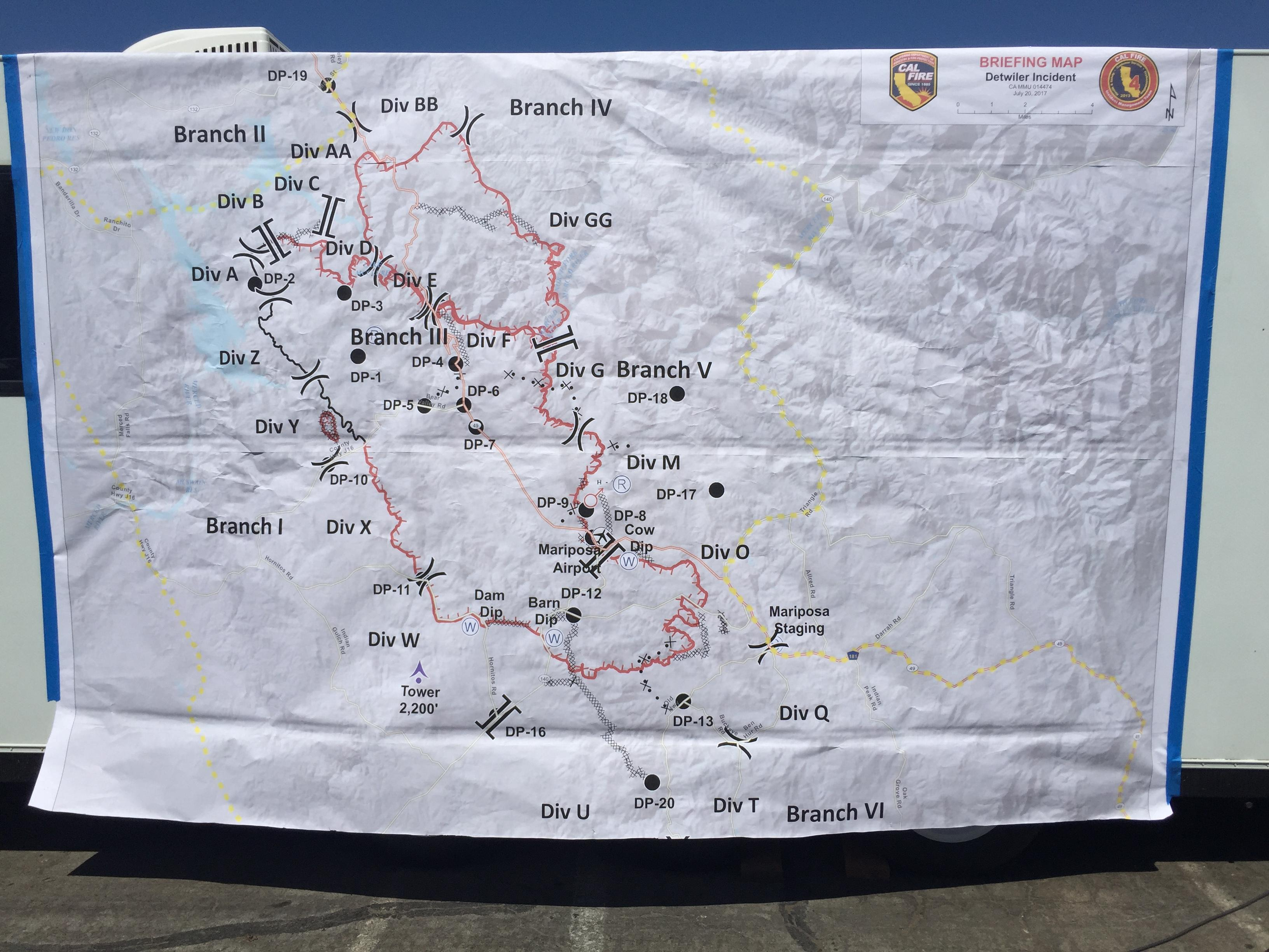 Updated map of the Dewiler Fire from Thursday afternoon briefing