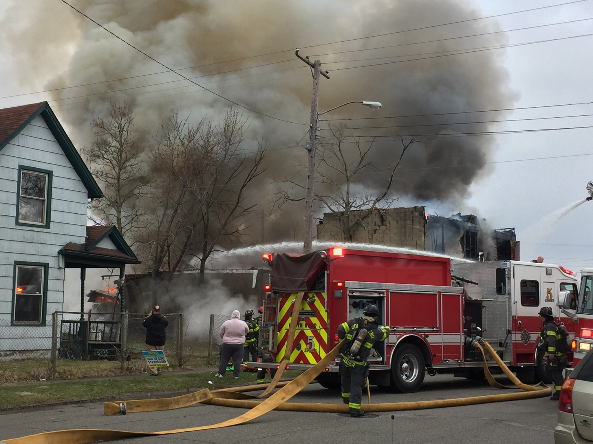 Crews battle large fire at East Dubail and South Michigan. // WSBT 22