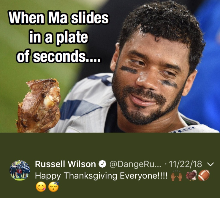 That one time Russ wished us all Happy Thanksgiving...Happy 30th birthday, Russell! (Image: @dangerusswilson / twitter.com/dangerusswilson)