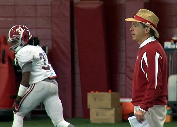Nick Saban during Alabama's New Year's Day BCS title practice.