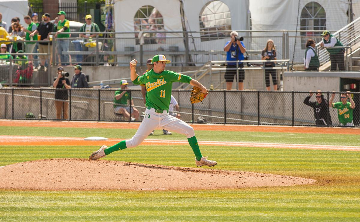 Matt Mercer(#11) pitched for five innings during Saturday's game. Despite a late comeback, the Ducks fall to Arizona State Sun Devils 4-3 in the second game of a three-game series. Photo by James Wegter, Oregon News Lab