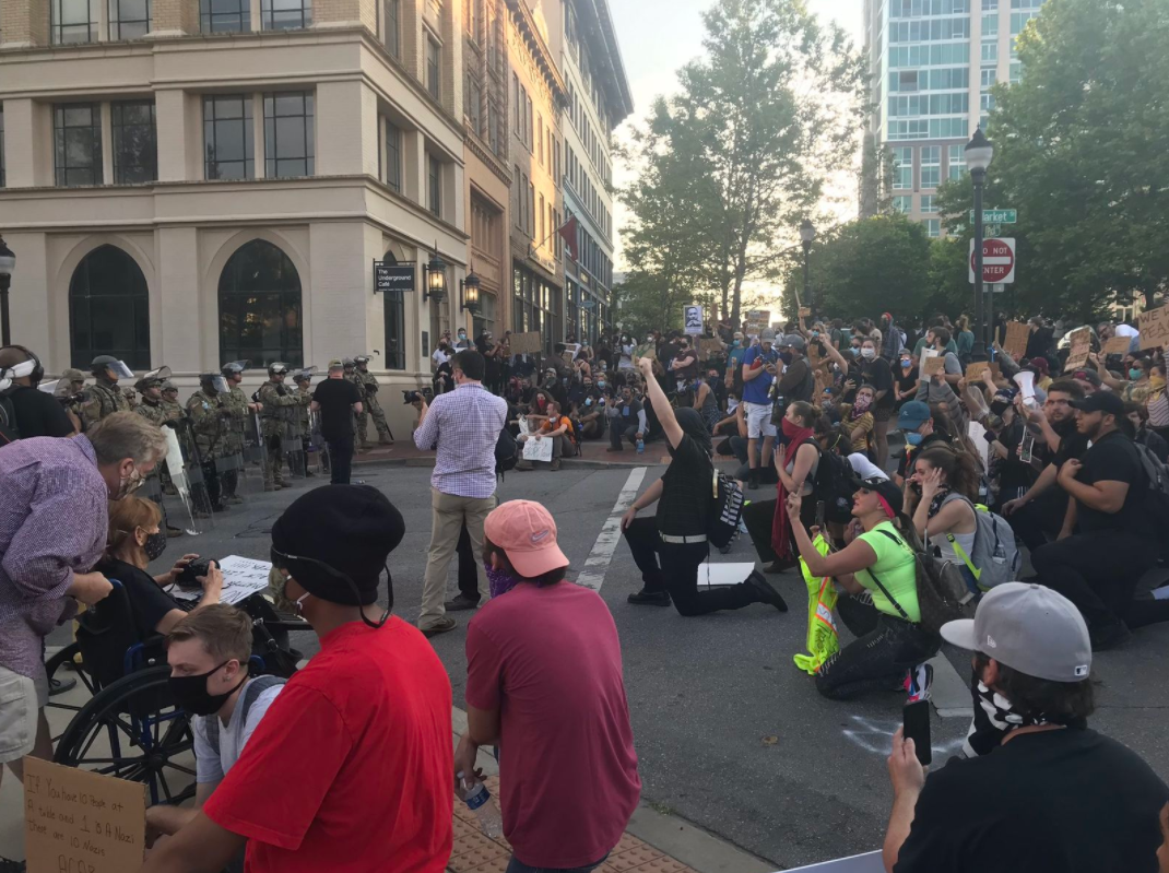 A hearing is set for the afternoon of Oct. 6 for a judge to decide if Asheville City Council will be able to see the body camera footage from recent protests. (Photo credit: WLOS staff)