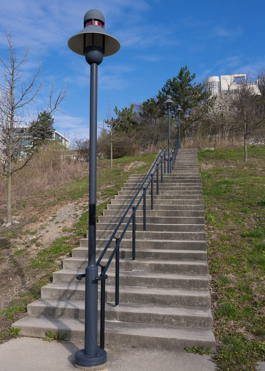 The stairs leading up from the terrace once led to the city's only water reservoir (until the 1870s). The reservoir was abandoned in 1907 due to pumping stations positioned elsewhere around the city. / Image: Phil Armstrong, Cincinnati Refined // Published: 4.13.18