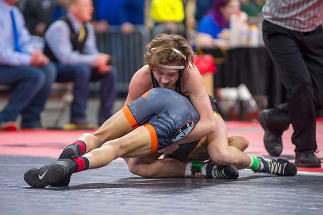 Here's action from local athletes in the finals of the 2018 Oregon state wrestling championships at Memorial Coliseum in Portland on Saturday, Feb. 17. Photos by Diego Diaz.