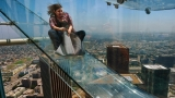 WATCH | Reporter takes terrifying trip down LA's Skyslide