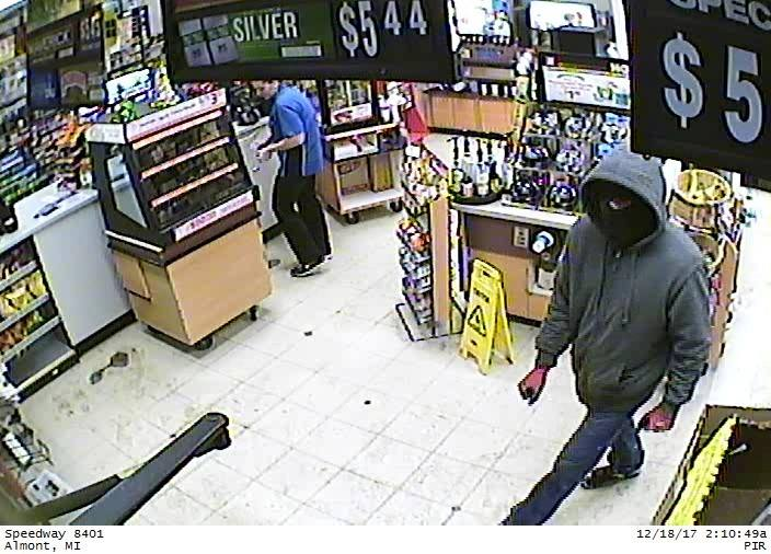 Police are searching for a suspect involved in a robbery at the Speedway gas station on the 1900 block of Cedar Street in Imlay City. (Photo courtesy of Imlay City Police Department)