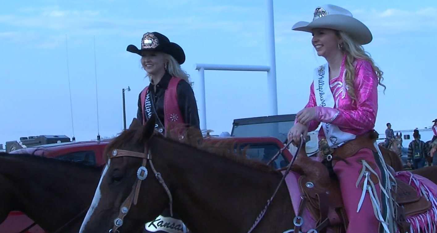 Rodeo queens are part of the grand entrance at the Kansas Biggest Rodeo on Aug. 3, 2017 (KHGI)