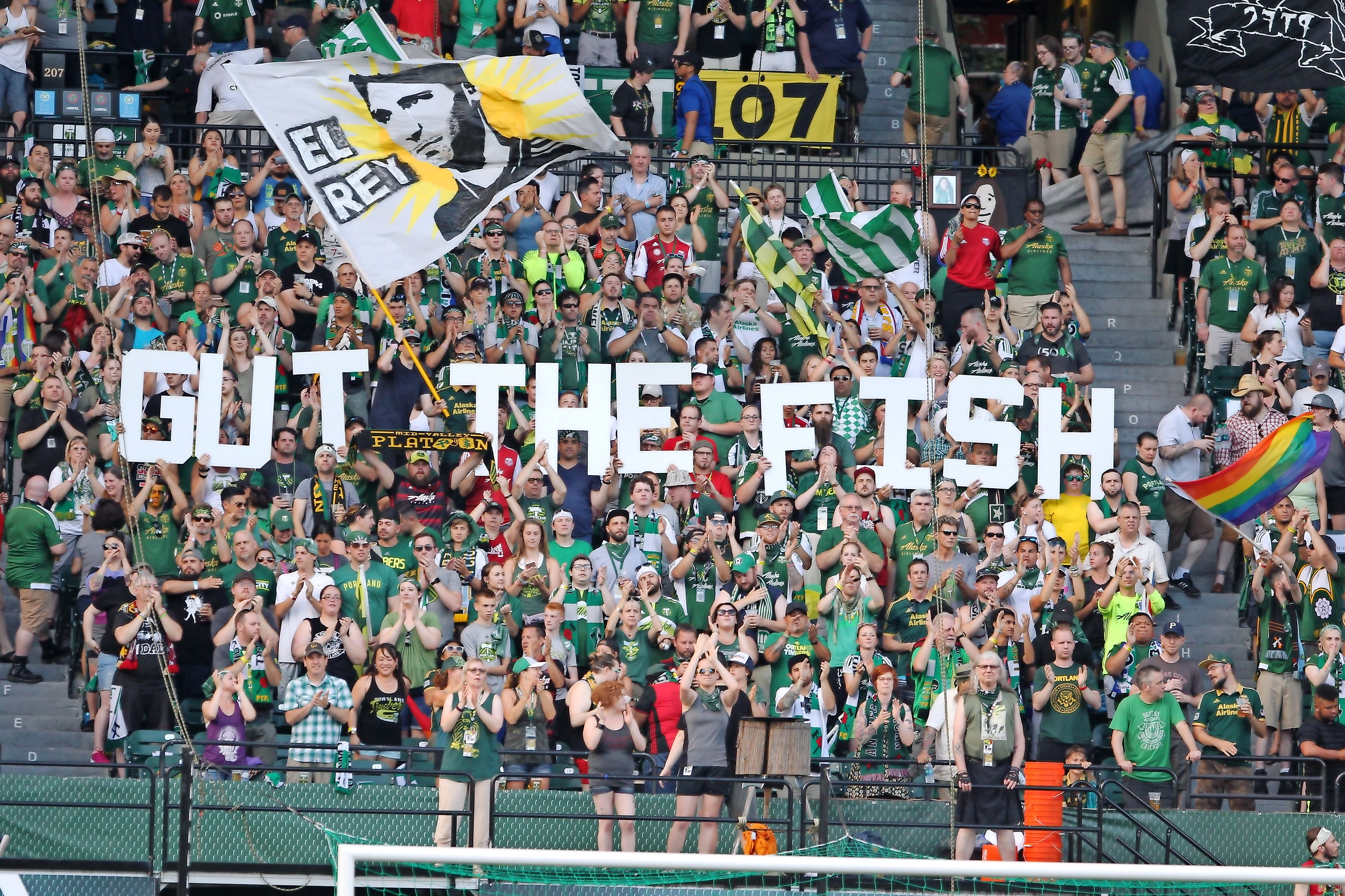 The Portland Timbers fans cheer during an MLS soccer game against the Seattle Sounders FC on Sunday, June 25, 2017, at Providence Park in Portland, Ore. (Pete Christopher/The Oregonian via AP)