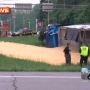 Overturned truck spills load of corn on Ohio road