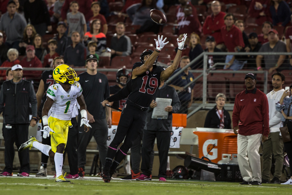 Stanford wide receiver JJ Arcega-Whitesidew (#19) grabs a long pass. The Oregon Ducks are trailing the Stanford Cardinal 28-7 at halftime at Stanford Stadium in California.  Photo by Austin Hicks, Oregon News Lab
