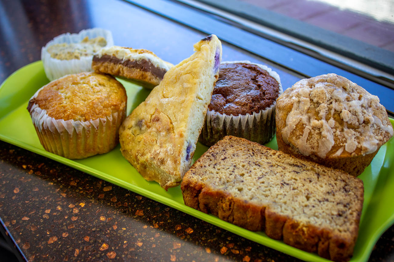 Vegan lemon poppy seed muffin, blueberry muffin, s'mores bar, blueberry scone, chocolate cheesecake muffin, banana nut bread (free of gluten and nuts) and coffeecake muffin{&nbsp;}/ Image: Katie Robinson, Cincinnati Refined // Published: 7.8.19{&nbsp;}<br><p></p><p></p>