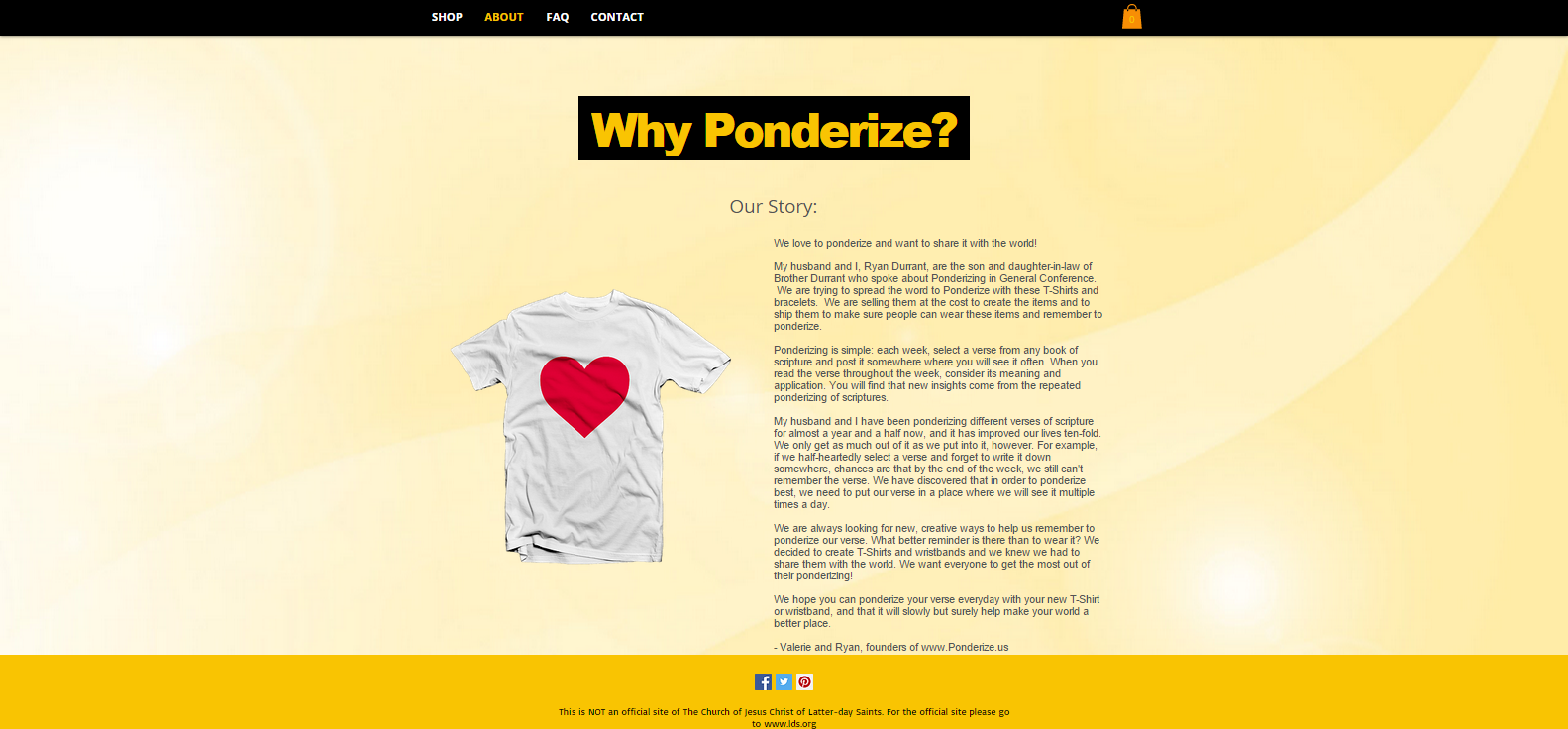 The website – ponderize.us – disappeared Sunday night Oct. 4, 2015 after online backlash and accusations of using a religious occasion for personal gain. (Screenshot from Ponderize.us)