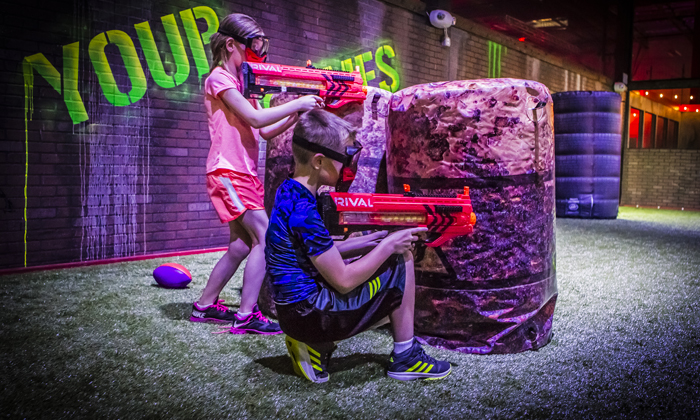Virtual Sports also features a 10,000 square foot laser tag field, nine holes of mini golf, and a multi-purpose field for Nerf rival assaults, Friday night drone racing, and some truly epic dodgeball games.