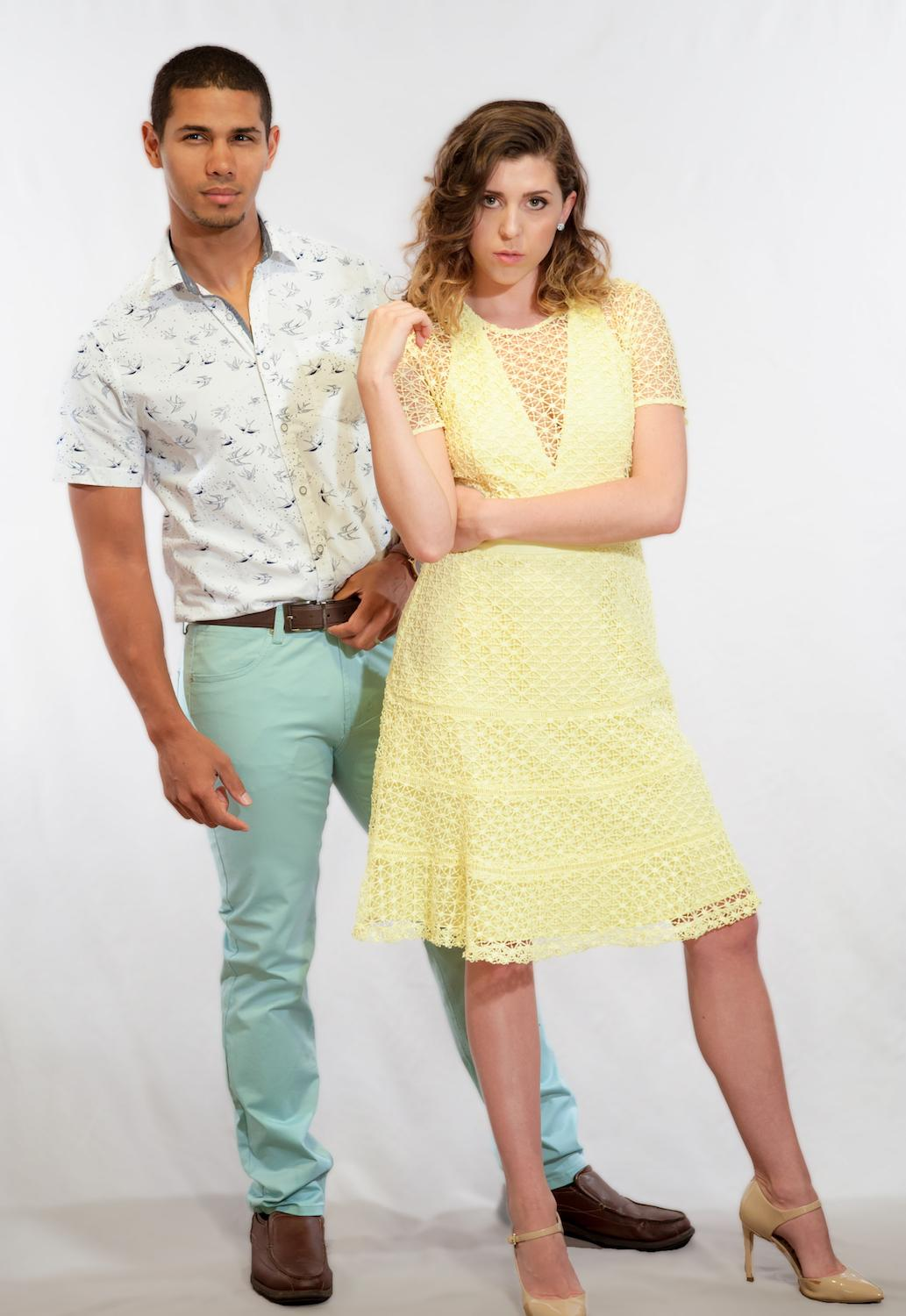 PARTY STYLE: Festive / White Button up with birds: Denim and Flowers by Ricky Singh / Mint Pants: Paper Denim and Cloth / Yellow dress: (Adelyn Rae) Finery Dress Boutique / Image: Tifani Ahren Davis // Published: 5.17.17