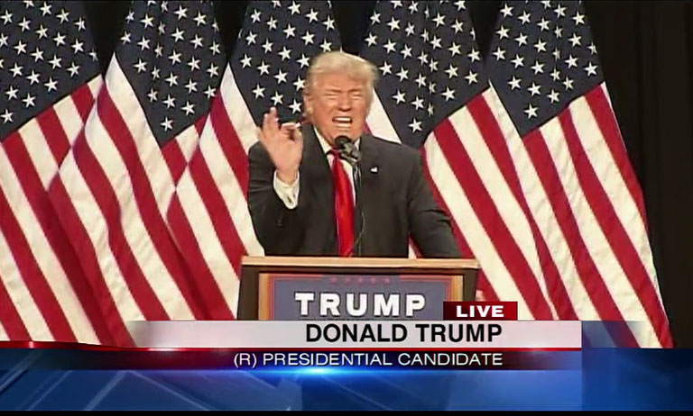 Presumptive GOP presidential nominee Donald Trump held a rally in Eugene, Ore., on May 6, 2016. (Image from live TV broadcast)