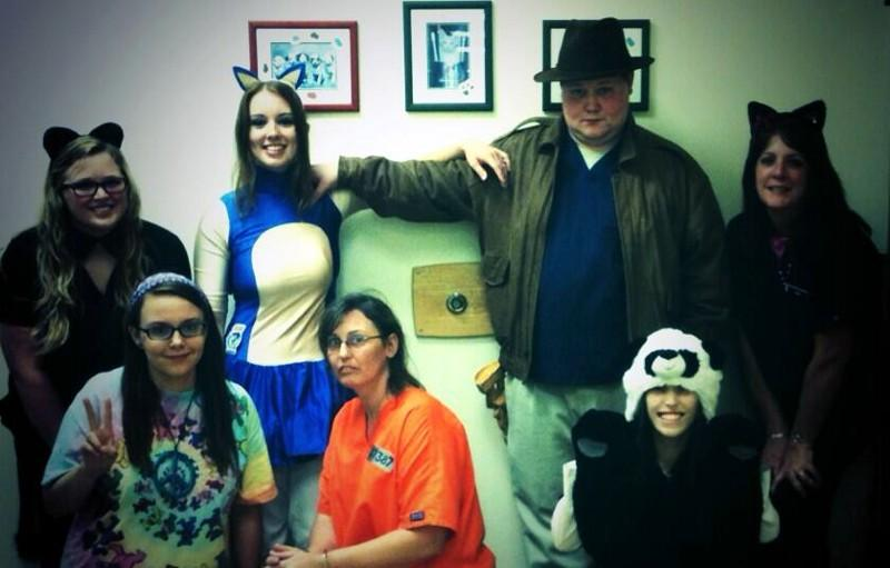 The McAdory Vet Clinic staff. From 2cat to sonic. With a ghost in the middle.