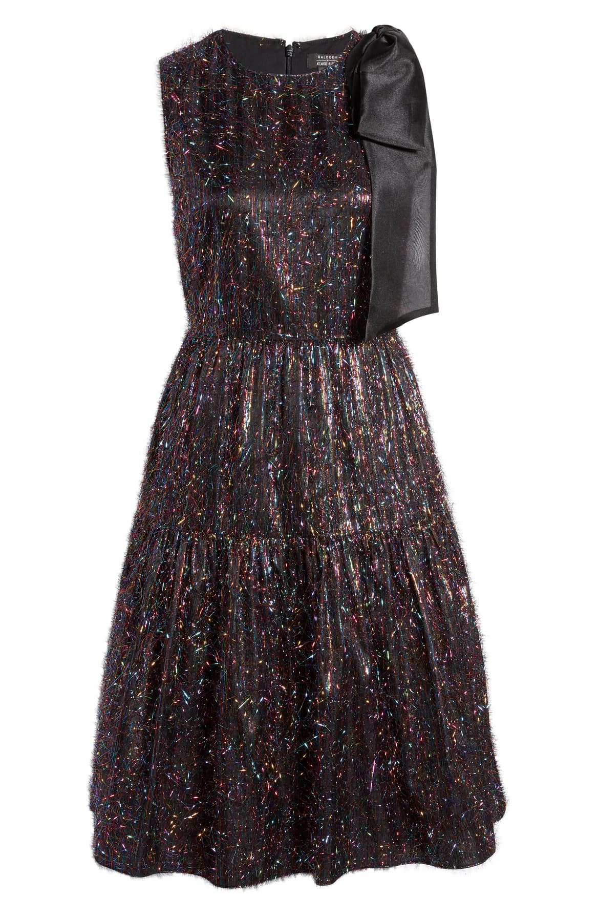 "<a  href=""https://shop.nordstrom.com/s/halogen-x-atlantic-pacific-bow-tinsel-a-line-dress-nordstrom-exclusive/5356614/full?origin=keywordsearch-personalizedsort&breadcrumb=Home%2FAll%20Results&color=rainbow%20tinsel"" target=""_blank"" title=""https://shop.nordstrom.com/s/halogen-x-atlantic-pacific-bow-tinsel-a-line-dress-nordstrom-exclusive/5356614/full?origin=keywordsearch-personalizedsort&breadcrumb=Home%2FAll%20Results&color=rainbow%20tinsel"">Halogen x Atlantic Pacific Bow Tinsel A-Line Dress - $149</a>. From cozy to gold hued to tailored, Nordstrom has the hottest trends for getting glam this holiday season! (Credit: Nordstrom)"