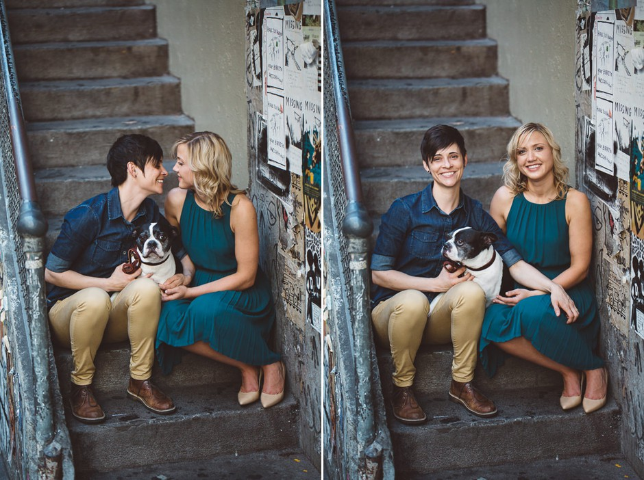 We are continuing our Documenting Love series with an engagement shoot! Arin & Katie brought their pupper along to snag some shots in Pike Place Market, Kerry Park and the waterfront. Not only do we think this is a stunning couple, but we are huge fans of their dog! OMG how cute is she?! Click through the gallery and get engagement shot inspo, or to just gaze upon the beauty that is this glorious photoshoot. Do you or somebody you know have a wedding you think deserves the spotlight? We LOVE (pun intended) documenting love stories, so email us at hello@seattlerefined.com to submit some wedding or engagement shots! Find the original wedding post from JennyGG at http://jennygg.com/engagements/downtown-arin-katie.  (Image: Jenny GG Photography).