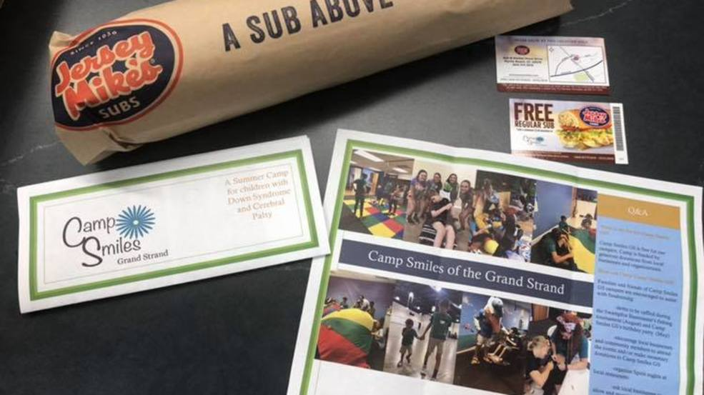 New Jersey Mike's Subs in Carolina Forest offers free subs for donations to Camp Smiles