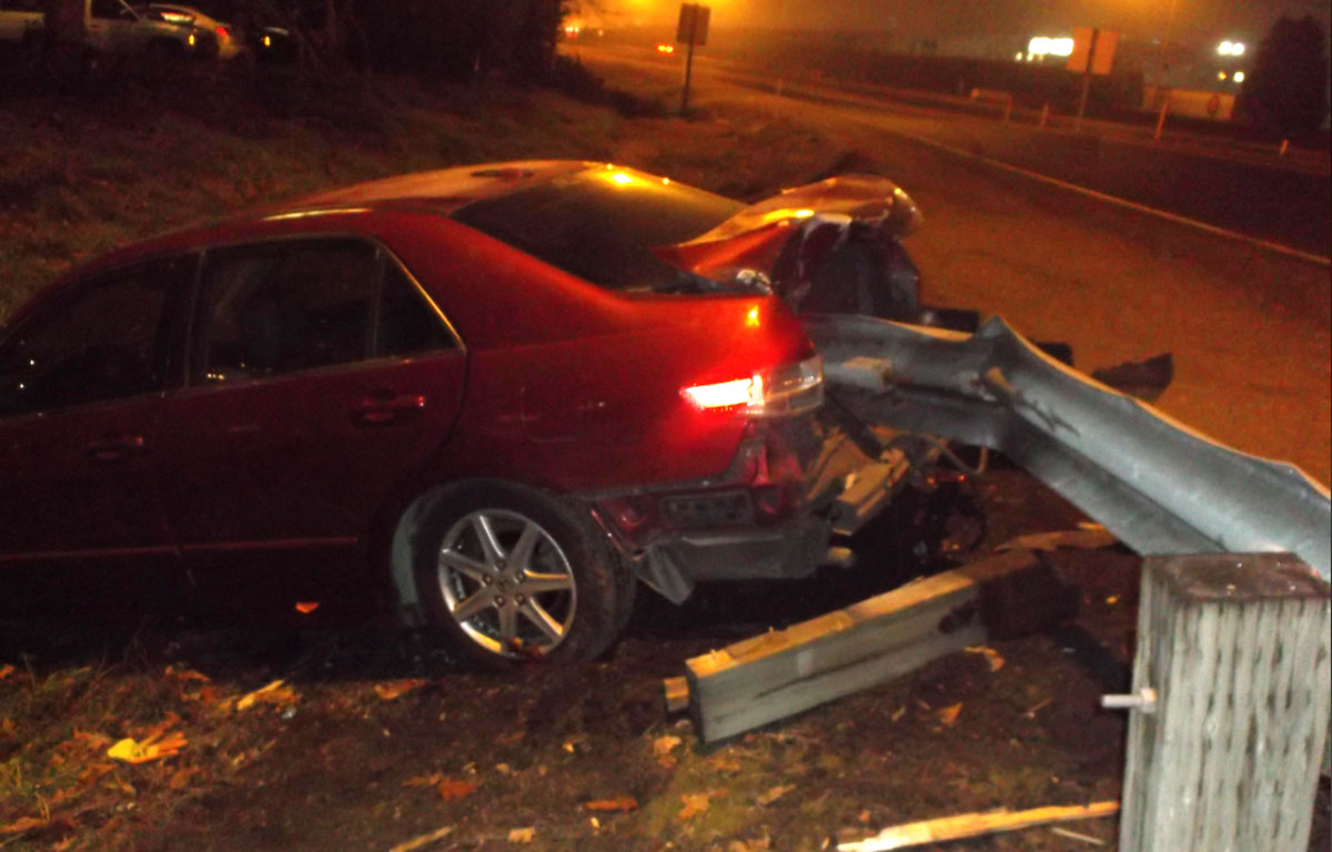 Car crashes as occupants take turns pulling the emergency brake. Police arrested two men for reckless driving and driving under the influence.Photo credit: Springfield Police Department, Springfield, Oregon.