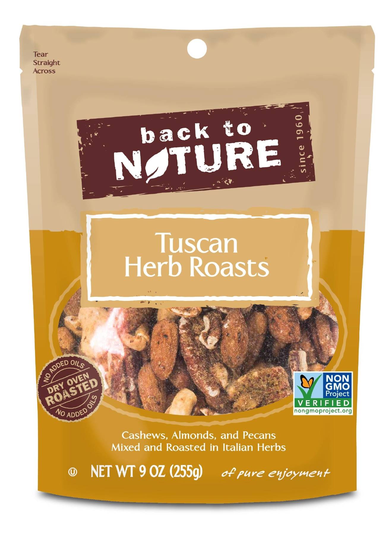 Back to Nature Tuscan Herb Roast Nuts: Big flavor, fat and protein rich for a filling snack// Sarah Waybright, MS, RD, Owner of WhyFoodWorks LLC// (Back to Nature)
