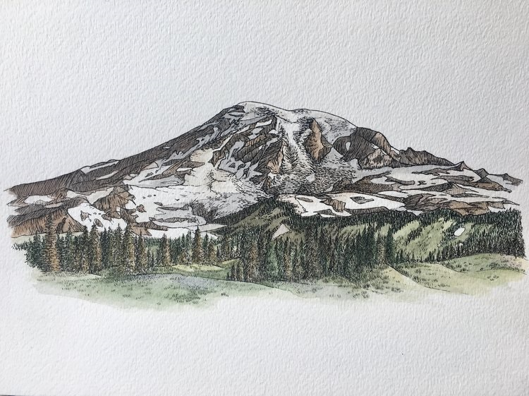 My background is in biology, as well as fine art, so I am very much drawn to and inspired by nature. Especially plants. I love drawing and painting mountains, and I often find ideas for these paintings on my own climbing and mountaineering adventures (Image courtesy of Emily Walker).