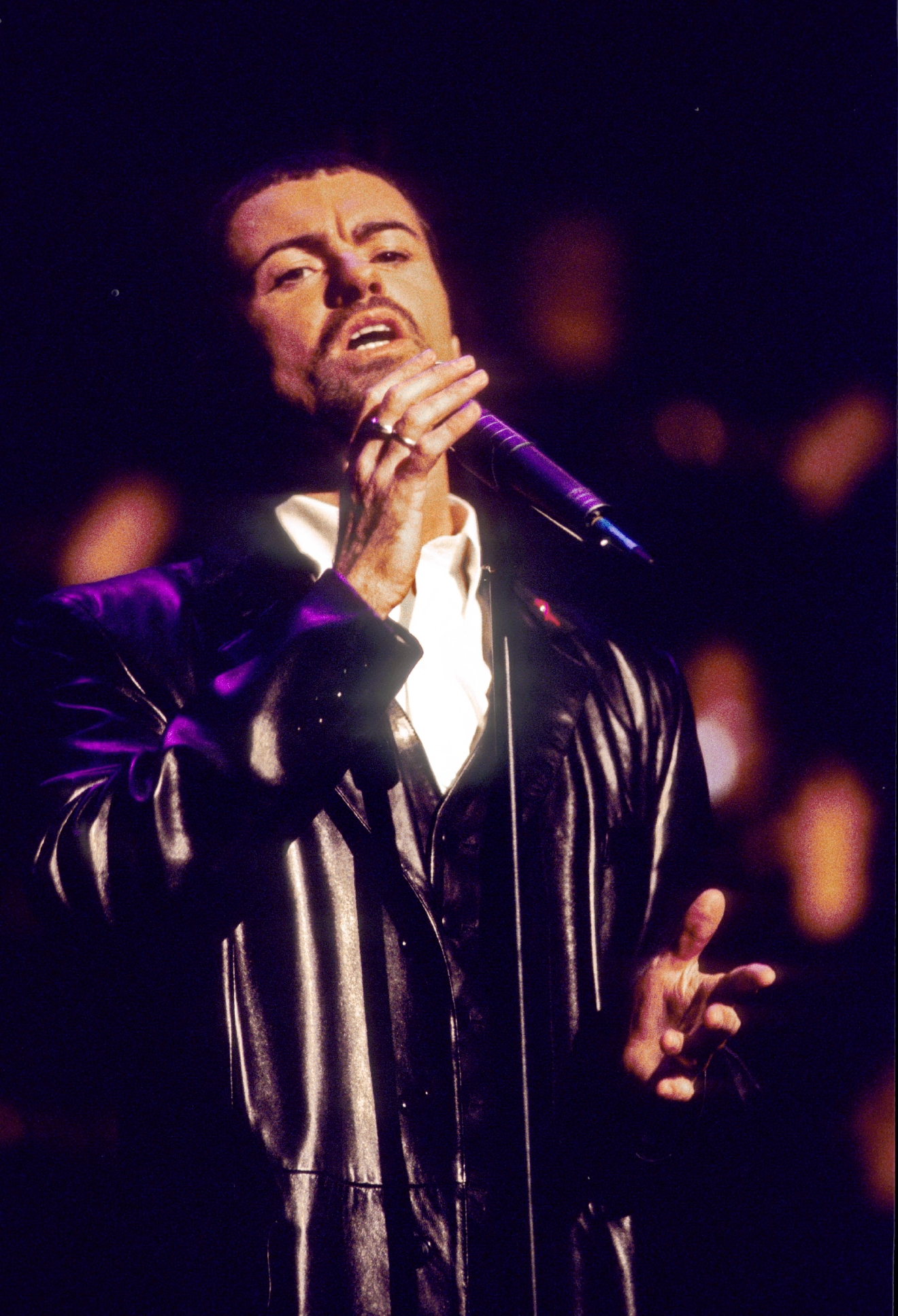 George Michael - performing live at the MTV European Awards held at the Brandenburg Gate in Berlin Germany - 24 Nov 1994.  Photo credit: George Chin/IconicPix  Where: London, United Kingdom When: 24 Nov 1994 Credit: George Chin//IconicPix/WENN.com  **Only available for publication in UK, USA, Germany**
