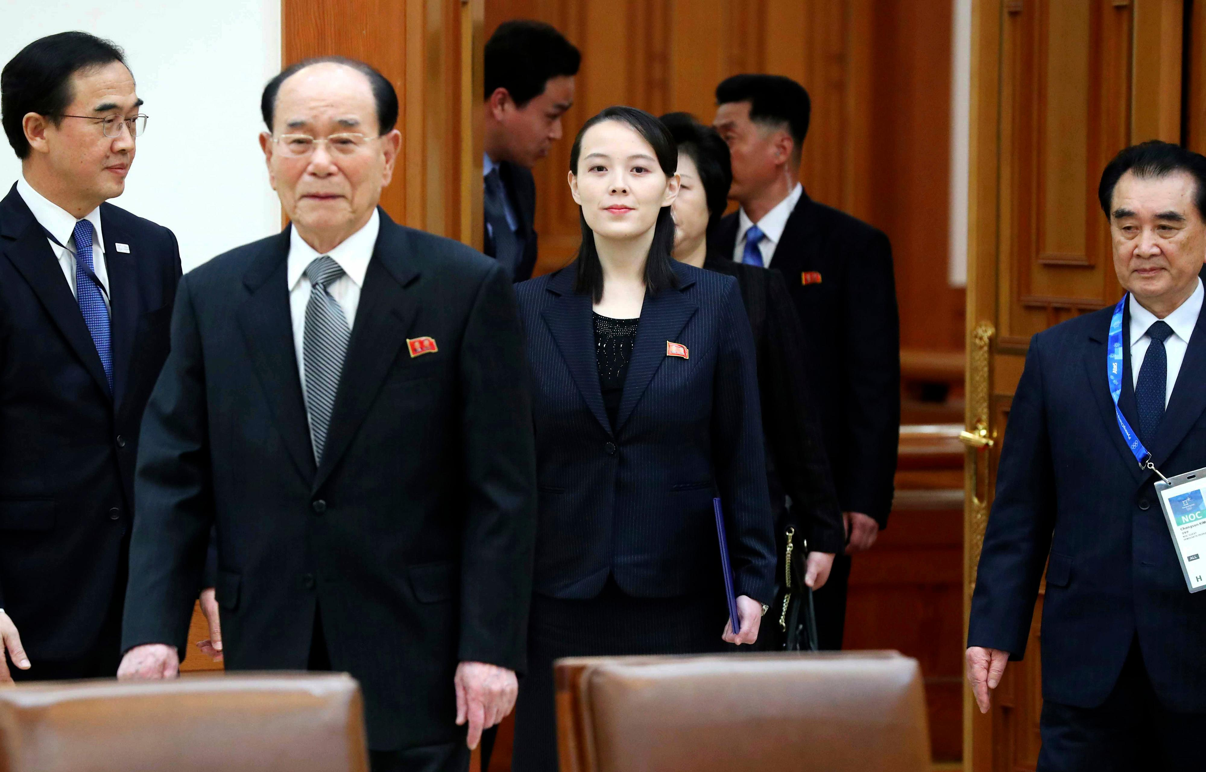 Kim Yo Jong, center, sister of North Korean leader Kim Jong Un, and the country's nominal head of state Kim Yong Nam, second from left, arrive to meet South Korean President Moon Jae-in at the presidential house in Seoul, South Korea, Saturday, Feb. 10, 2018.  President Moon on Saturday met with the senior North Korean officials over lunch at Seoul's presidential palace in the most significant diplomatic encounter between the rivals in years.(Kim Ju-sung/Yonhap via AP)
