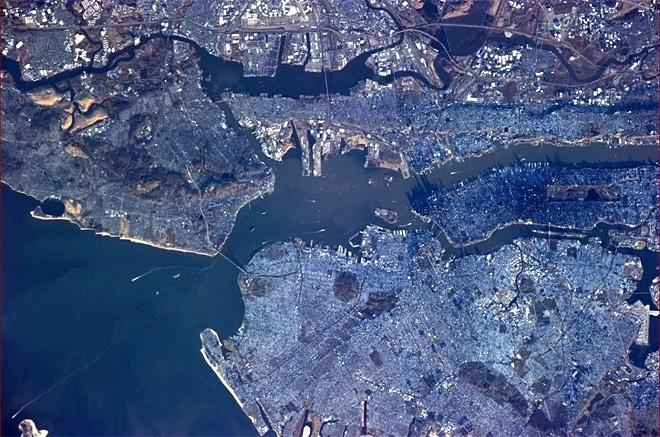 Morning in NYC. Downtown Manhattan casts quite a shadow. (Photo & Caption: Chris Hadfield/NASA)