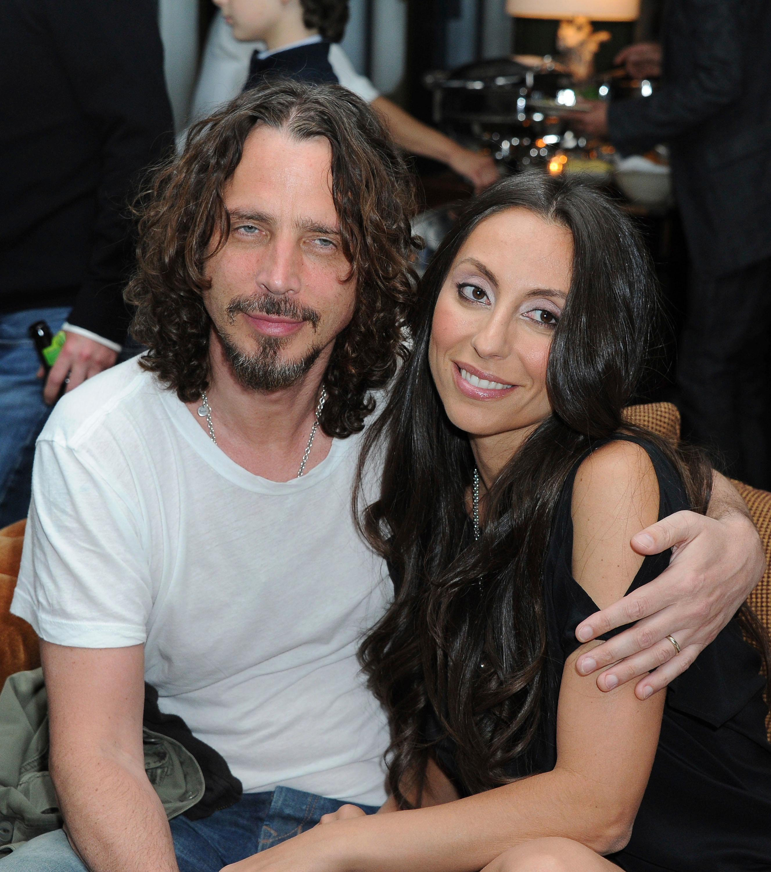 "FILE - In this April 27, 2012, file photo, Chris Cornell, at left, and his wife, Vicky Karayiannis attend the celebration of ""Commando: The Autobiography of Johnny Ramone,"" in Los Angeles. Vicky Cornell penned a  letter addressed to the late Soundgarden front man published on May 24, 2017, days after he took his own life.(AP Photo/Katy Winn, File)"