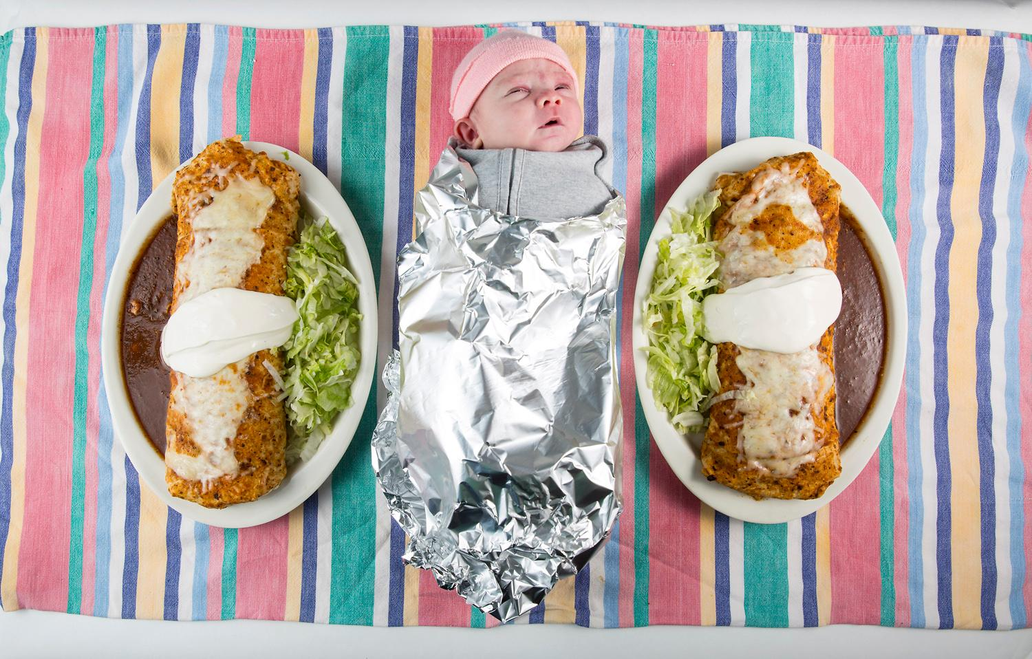 Gorditos Mexican Food boasts something called a Baby Burrito on their menu, claiming it's the size of a newborn infant. So we made a call, and brought a couple little ones (with their parents permission, of course) over to the restaurant for a little test - and photoshoot! The verdict? Little one-week-old Mollie was awfully darn close, while three-month-old Matilda was at least twice the size! Big thanks to both babies and their families for helping us with this fun shoot. Gorditos is located in Greenwood at 213 N. 85th St. (Image: Sy Bean / Seattle Refined)