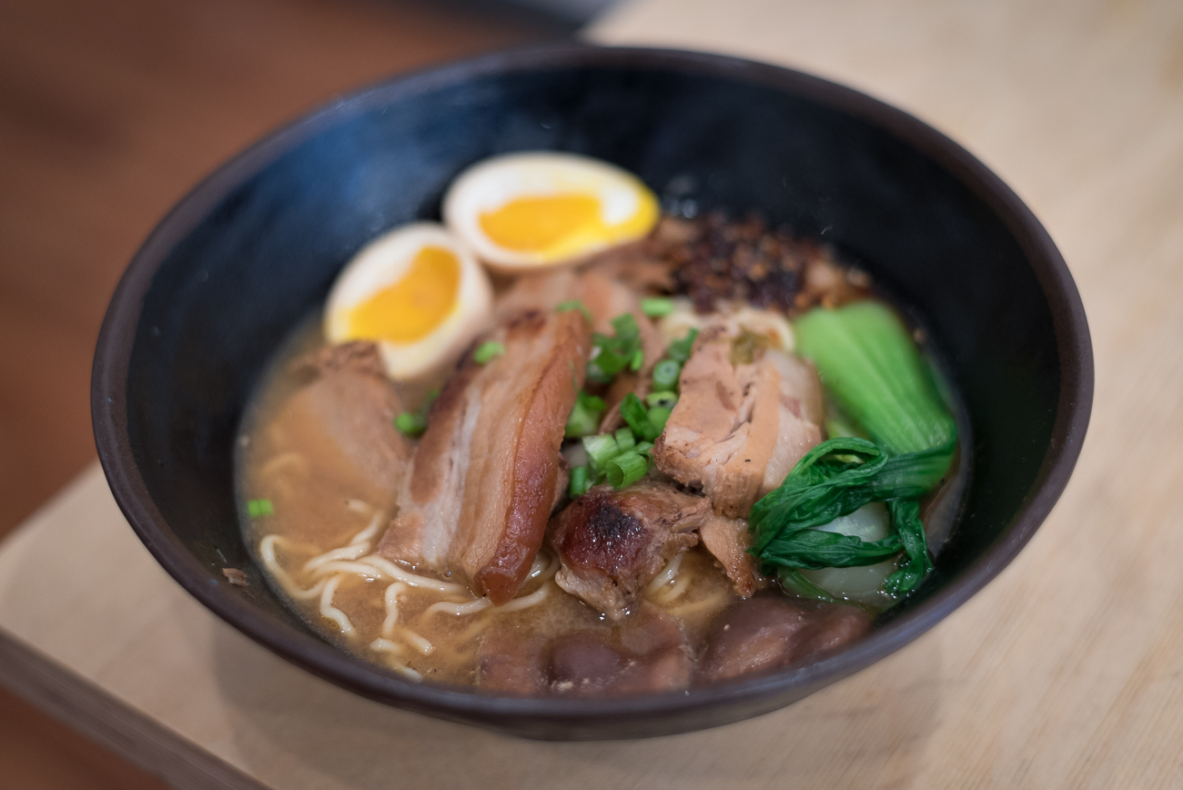 Hella Spicy Miso Ramen: Ramen noodles in spicy miso broth with Japanese-style BBQ pork, and blanched kale topped with green onions and a half-boiled egg / Image: Phil Armstrong, Cincinnati Refined // Published: 12.18.17