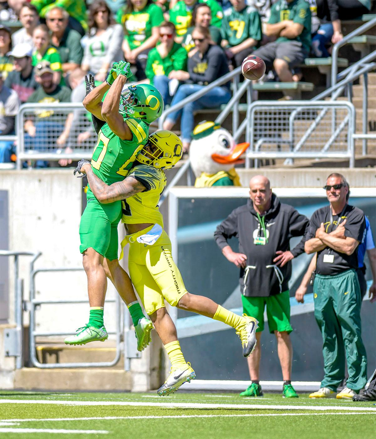 A Thunder places misses a catch in the end zone. The Thunder defeated the Lightning 59-24 in the Spring Game on Saturday at Autzen Stadium. Photo by August Frank