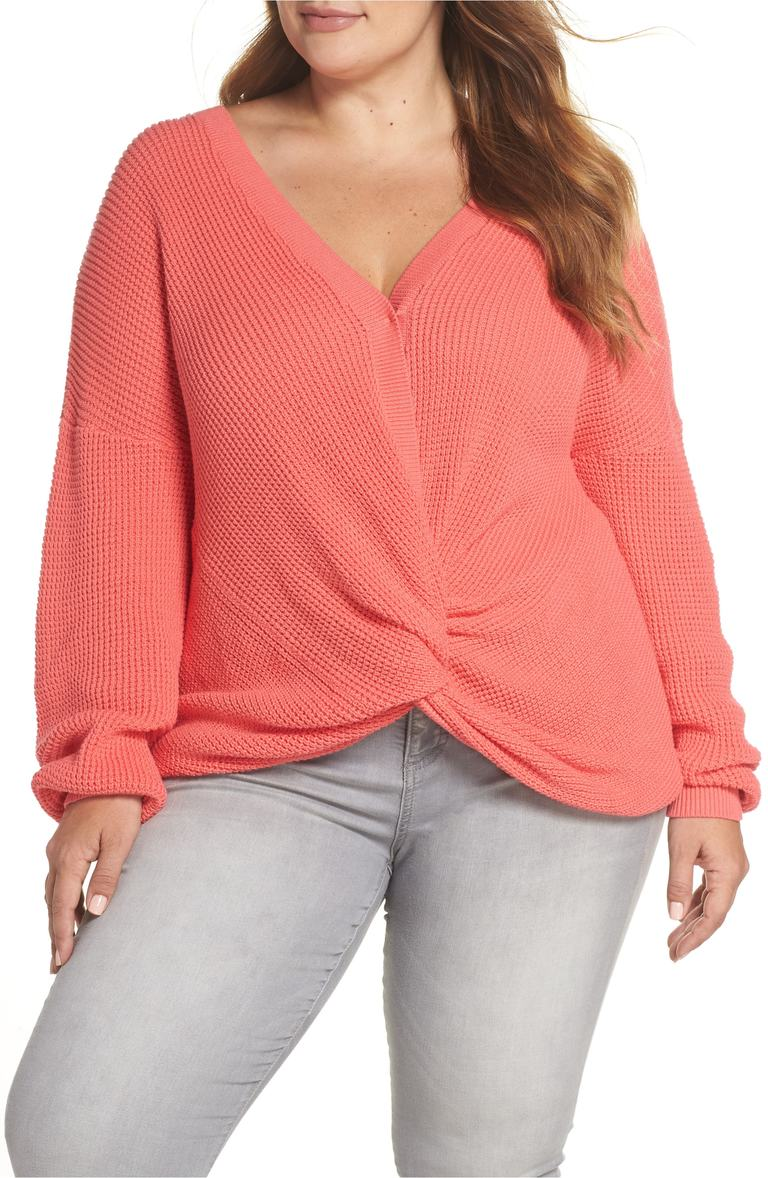 Twist Front Sweater. Sale: $31.90 / After Sale:$49.00. (Image: Nordstrom){ }