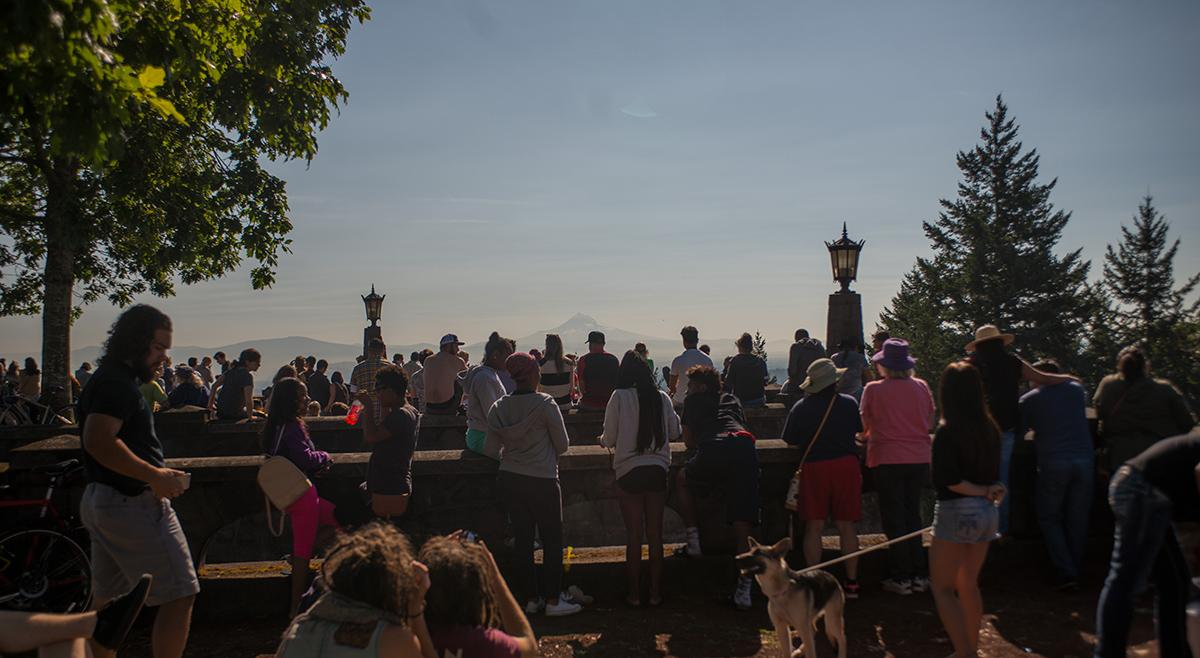 Hundreds gathered at the top of Portland's Rocky Butte on Monday morning to view the total solar eclipse. (Photo taken August, 21, 2017 by Tristan Fortsch, KATU News)