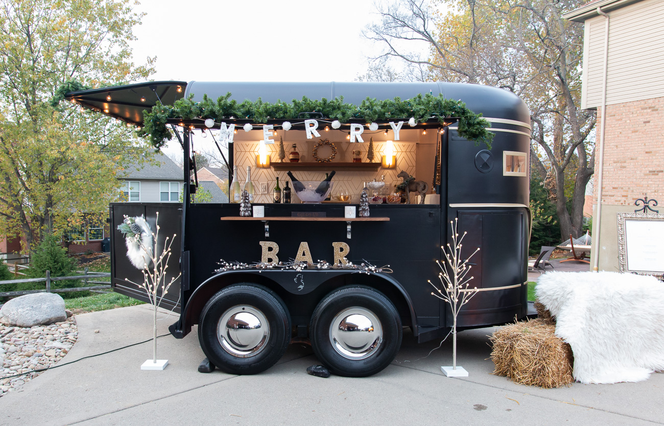 "As a converted horse trailer, the name ""Merry Mare"" is meant to convey a sense of warmth and memorable character.  The small size of the bar allows it to operate both inside and out depending on the space. / Image: Elizabeth A. Lowry // Published: 11.21.20"