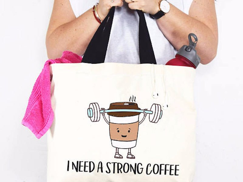 Head to Etsy for this tongue in cheek tote bag that let's everyone know that you need strong coffee. An ideal gift for the sleep deprived parent or side hustler in your life, the funny bag is made from 100% natural canvas. Choice of black or pink handles.{&amp;nbsp;} (Image: Of Life and Lemons/Etsy)<p></p>