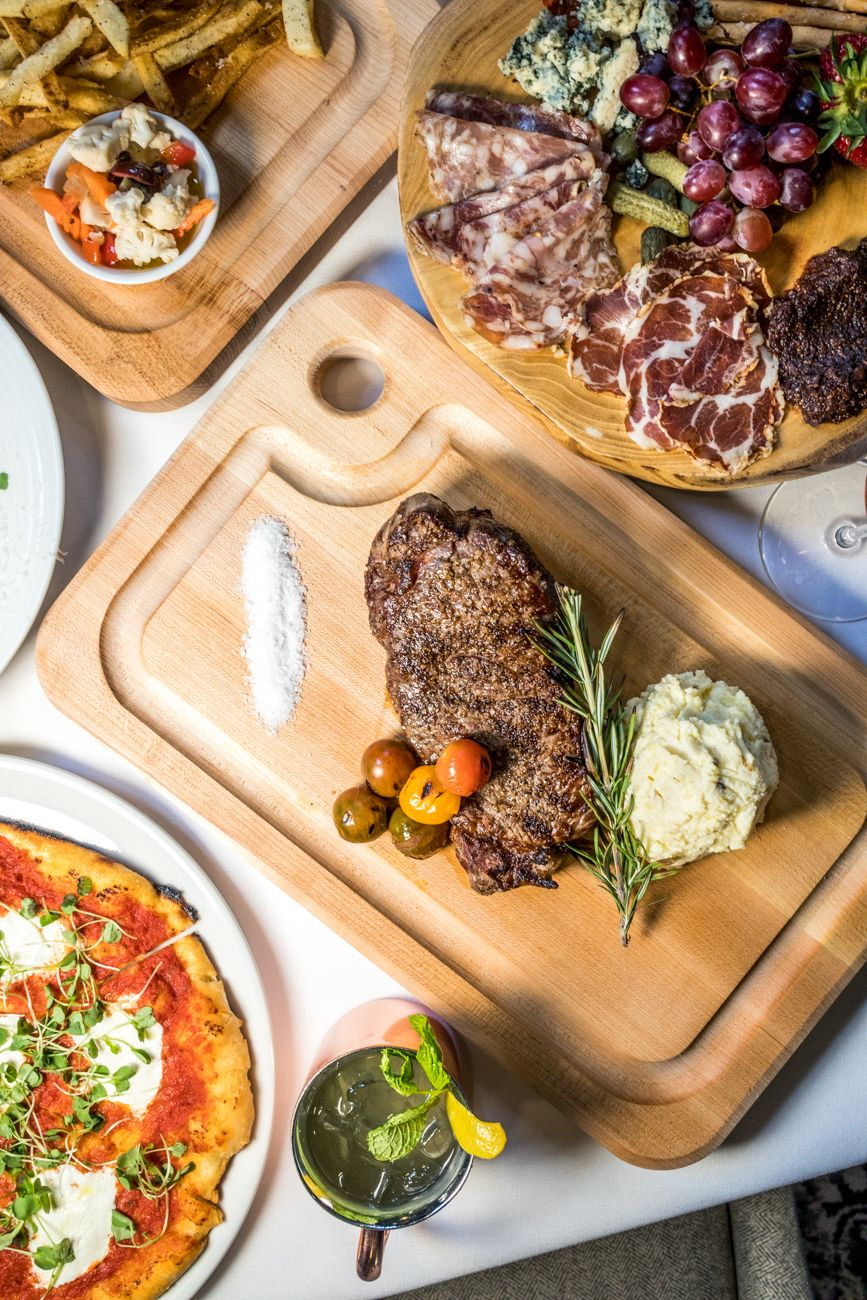 New York Strip, Margherita Pizza,{ }Salumi E Formaggi, and Lytle Mule from Subito / Image: Catherine Viox // Published: 9.8.20