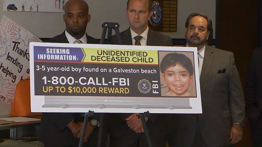 The FBI is offering a $10,000 reward for information leading to the identity and caretakers of a boy found dead on a beach in Galveston, Texas. (CNN Newsource)